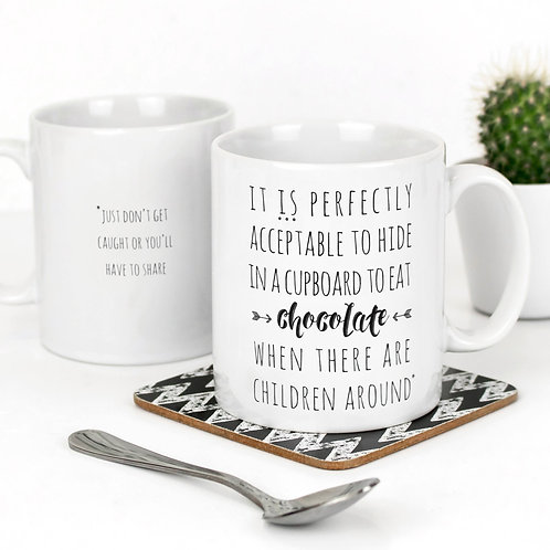 Secret Chocolate Funny Quote Mug for Parents