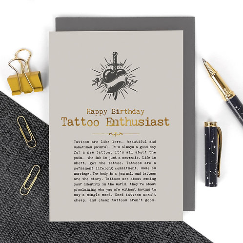 Tattoos Vintage Foil Birthday Card x 6