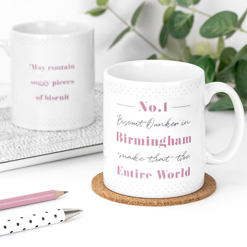 No. 1 Biscuit Dunker Personalised Dotty Mug x 3