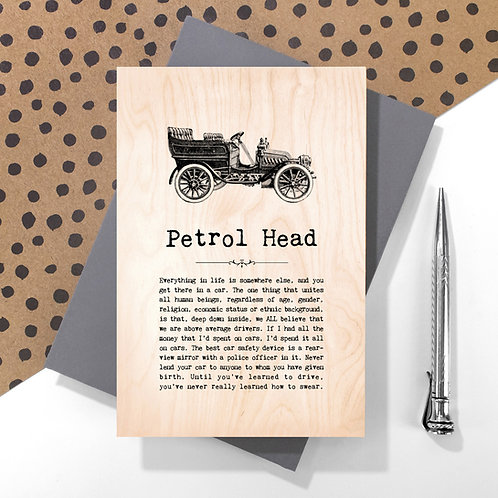 Petrol Head Wooden Keepsake Card for Car Enthusiasts