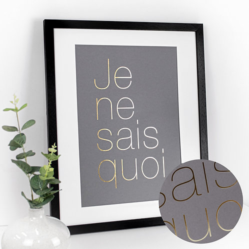 French Quote Large Framed Print with Gold Text
