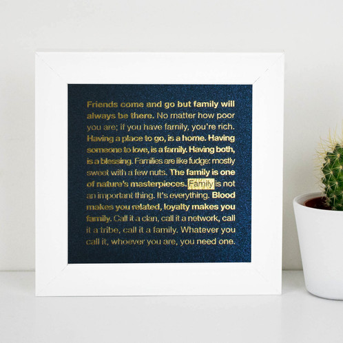 Family\' Quotes Gold Foil Framed Print for Mum | Personalised Gifts ...