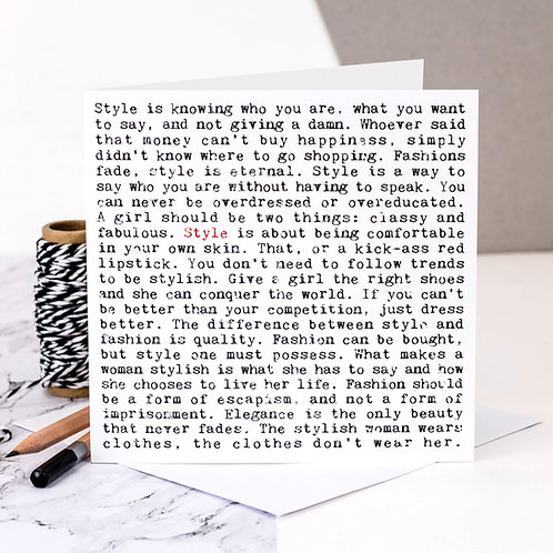 Style Wise Words Quotes Card