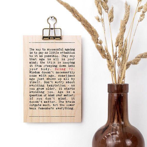 70th Birthday Wise Words Wooden Plaque with Hanger x 3