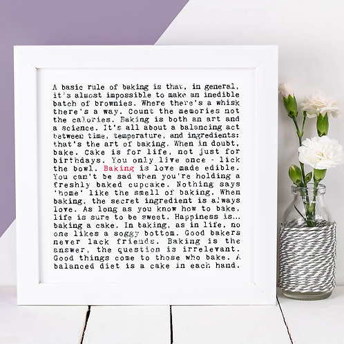 Baking Wise Words Quotes Print