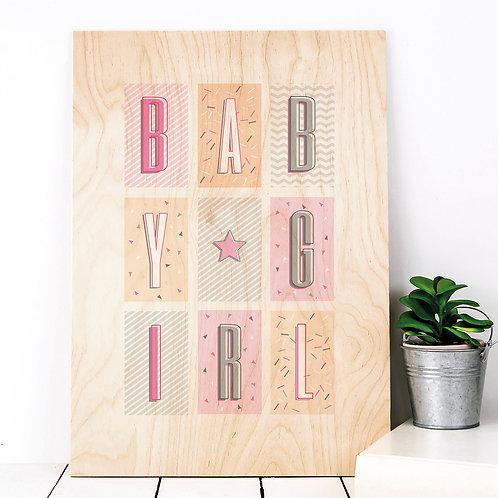 Baby Girl Geometric Wooden Nursery Plaque