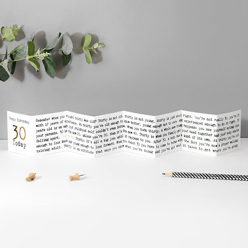 30th Birthday Mini Fold Out Greeting Card