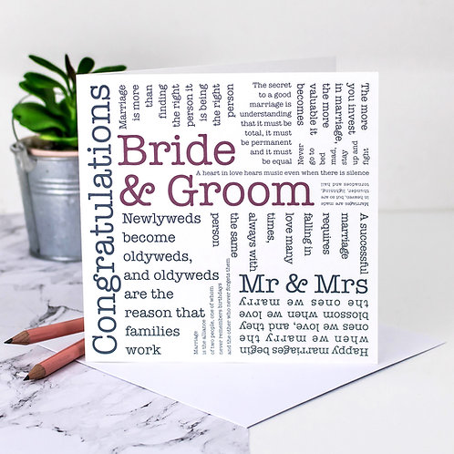 Wedding Card Word Cloud Quotes for Bride and Groom