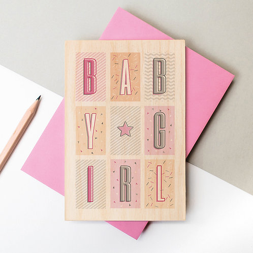 Baby Girl Geo Wooden Keepsake Card