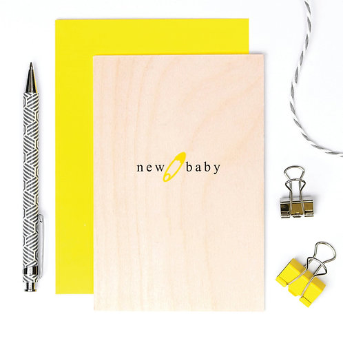 New Baby Wooden Keepsake Card