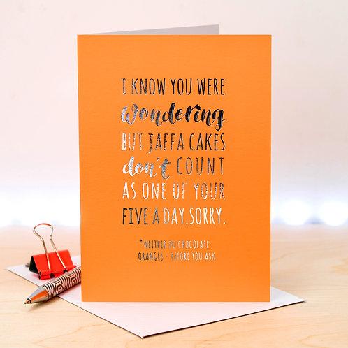 Jaffa Cake Funny Neon Orange Greeting Card