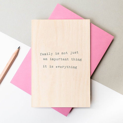 Family is Everything Wooden Keepsake Card x 6