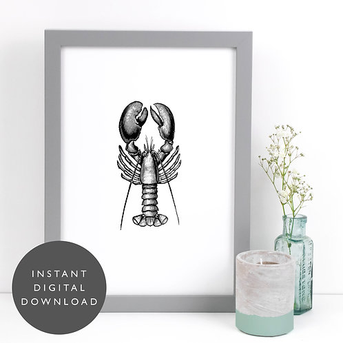 Lobster Seafood A4 Printable Kitchen Wall Art [DOWNLOAD ONLY]