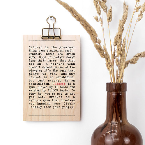 Cricket Quotes Wooden Sign with Hanger