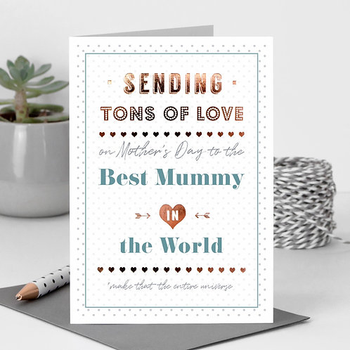 Best Mummy in the World Rose Gold Mother's Day Card