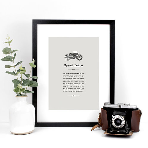 Speed Demon A4 Motorbikes Print with Quotes