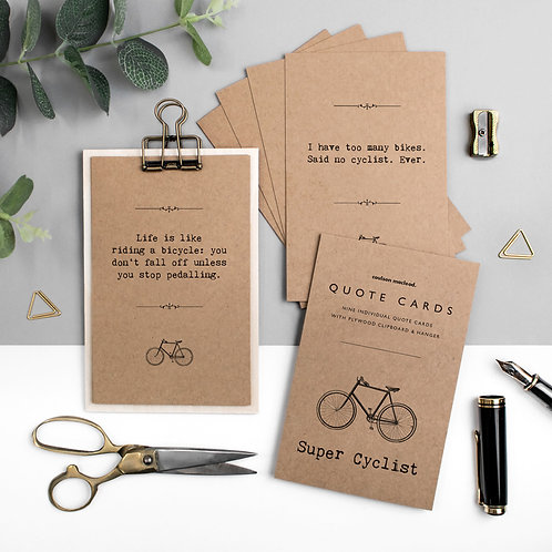 Cyclists Quote Cards with Wooden Clipboard