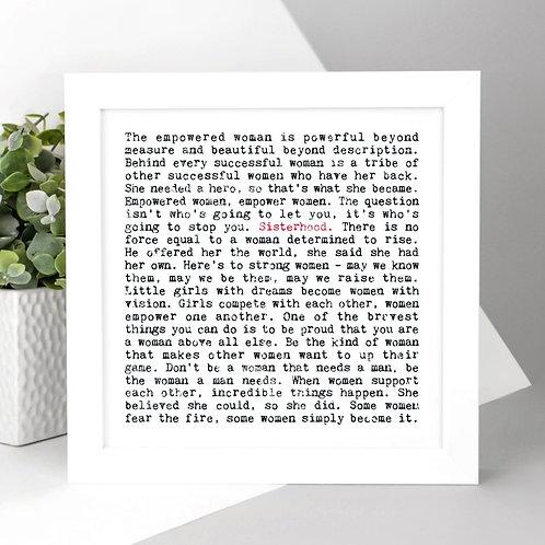 Sisterhood | Wise Words Feminist Quotes Print