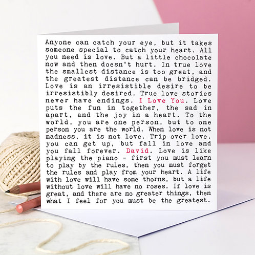 I Love You Romantic Quotes Card
