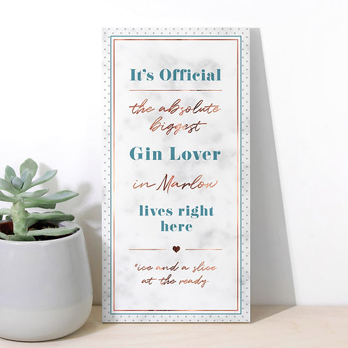 Gin Lover Personalised Dotty Marble Plaque x 3