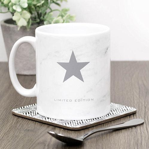 Limited Edition Grey Star Marble Effect Mug