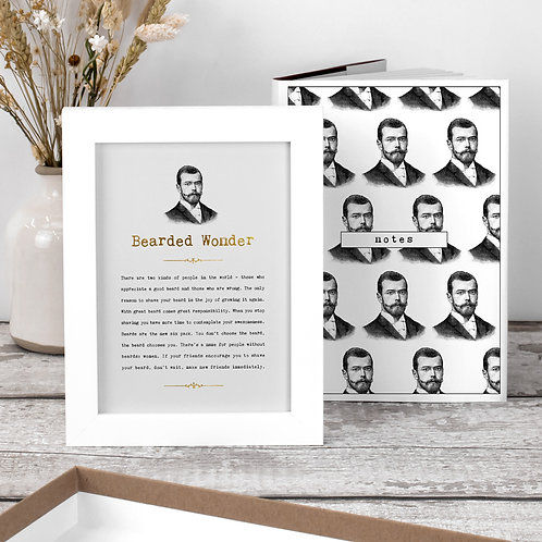Beards Gift Set for Him with Notebook and Print