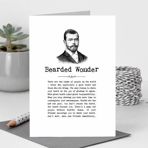 Beards Greeting Card for Him with Quotes