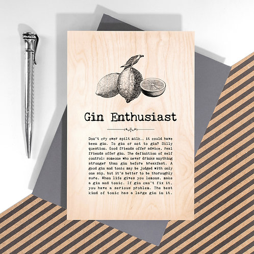 Gin Enthusiast Mini Wooden Plaque Card x 6