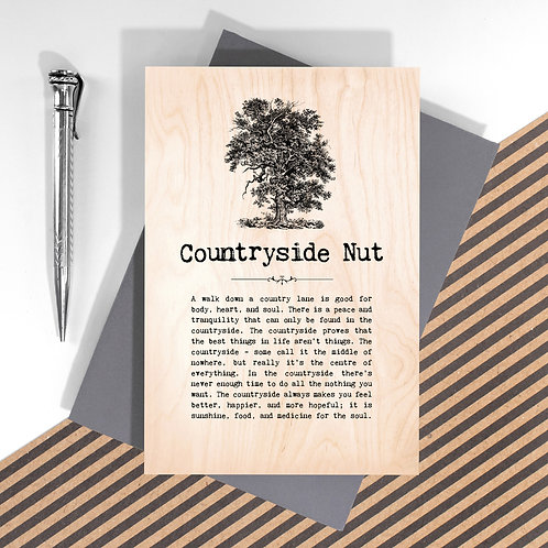 Countryside Nut Wooden Keepsake Card for Outdoorsy Folk