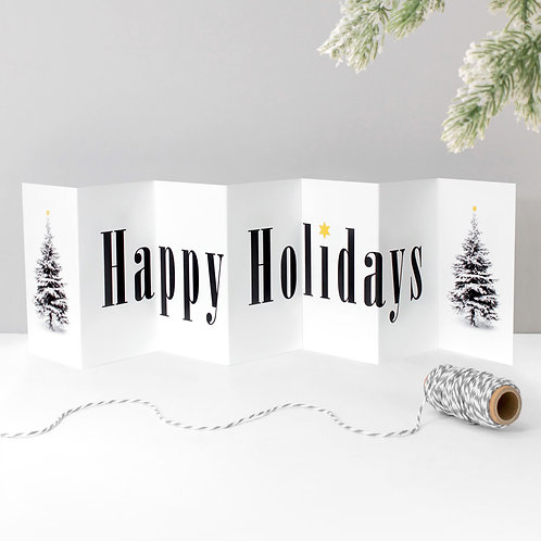 Happy Holidays Christmas Tree Concertina Card x 6