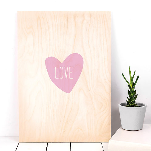 Pink Love Heart Wooden Sign