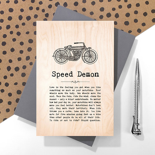 Speed Demon Wooden Keepsake Card for Bikers
