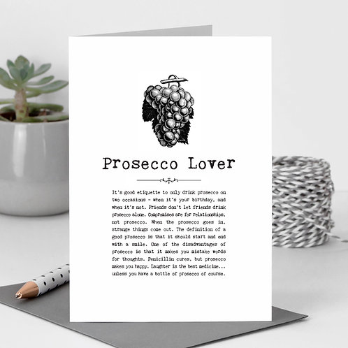 Prosecco Lover Vintage Words Greeting Card x6