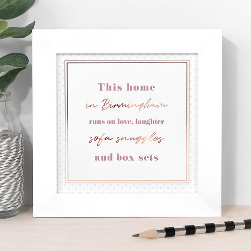 This Home In... Personalised Dotty Framed Print in Pink x 3