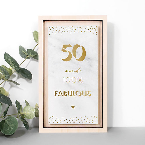 50th Birthday Gold Marble Stone Plaque