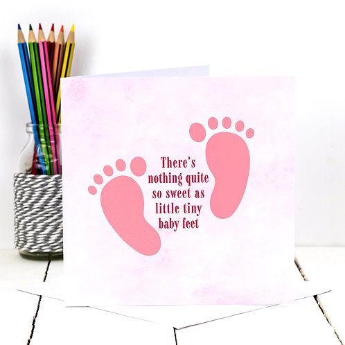 Baby Feet Pink Card x 6