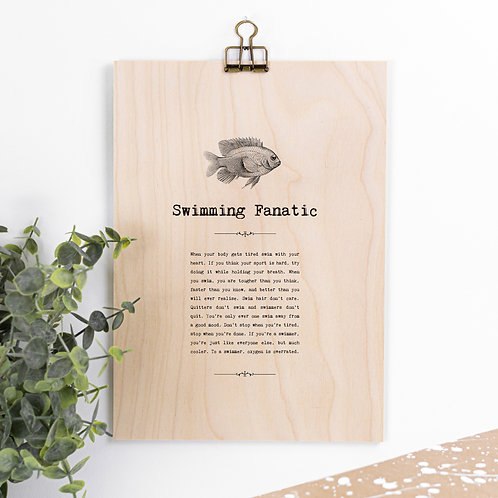 Swimming Lover Wooden Sign with Hanger