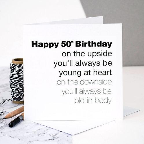Funny 50th Birthday Card | Young At Heart x 6