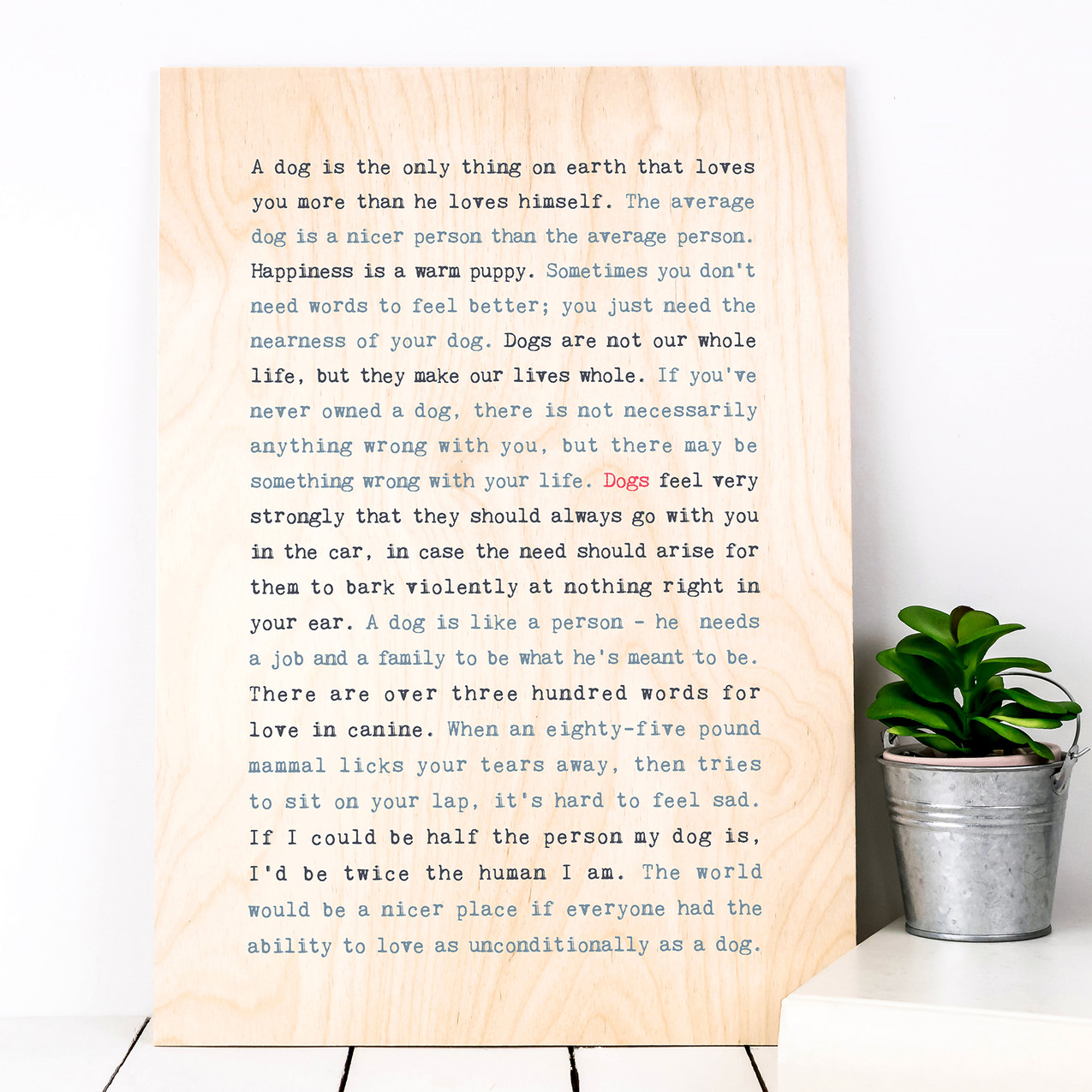 PWS035 (Plywood) - WISE WORDS Dogs - Cou