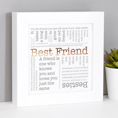 Best Friend Framed Copper Foil Print