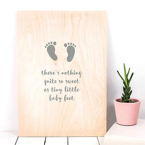Newborn Baby Feet A4 Wooden Plaque Print x 3