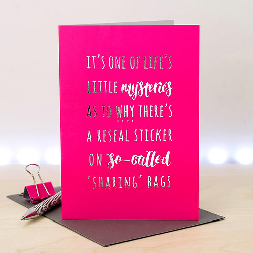 Funny Snack Food Silver and Neon Pink Greeting Card