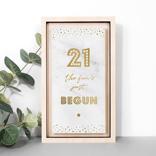 21st Birthday Gold Marble Stone Plaque