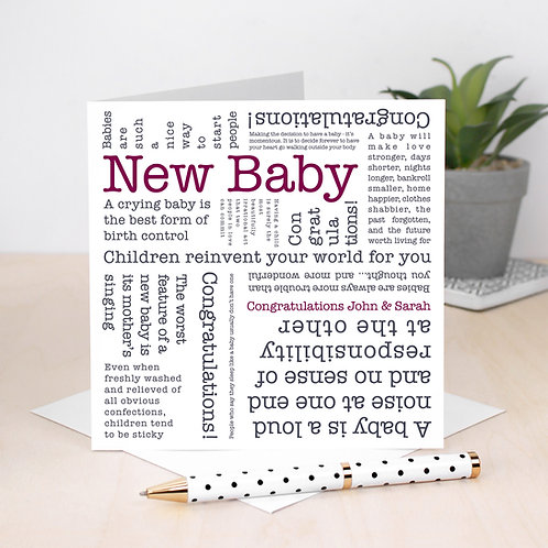 New Baby Card with Quotes