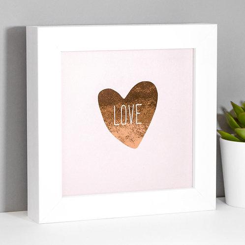 Love Heart Rose Gold/Pink Framed Print x 3