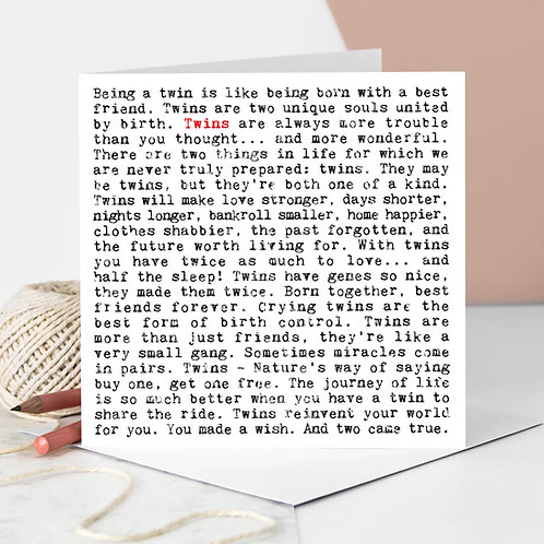 Twins New Baby Greeting Card with Quotes