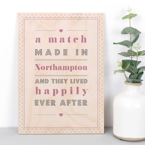 Match Made In Personalised Dotty Wooden Plaque in Pink x 3