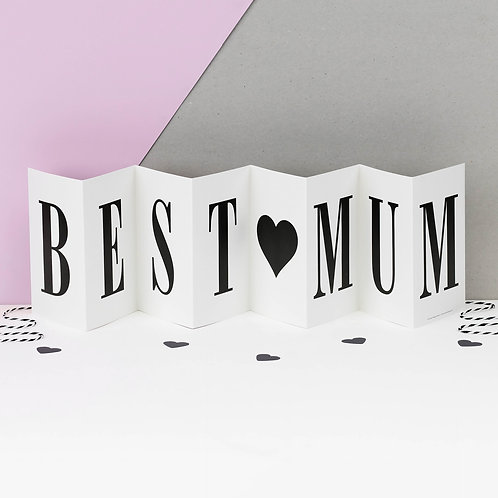 Best Mum Monochrome Love Heart Concertina Card for Mothers