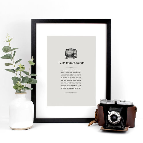 Beer Connoisseur A4 Quotes Print for Kitchens