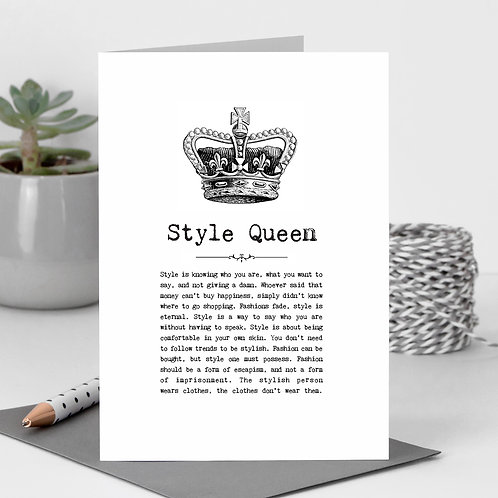 Style Queen Greeting Card with Quotes